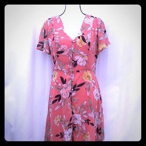 Cotton On floral sheer dress medium
